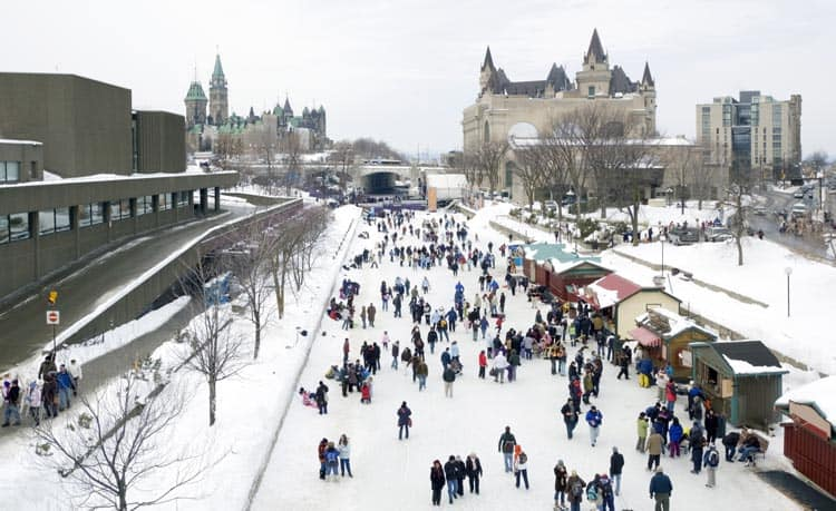 Everyone enjoying the ice festivities on the Rideau Canal