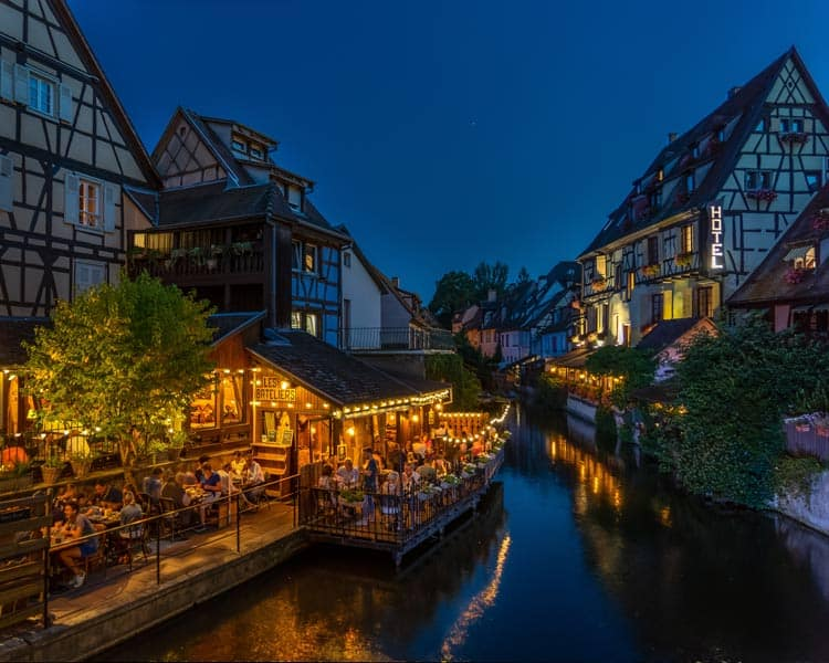 A romantic European canal in Colmar, France