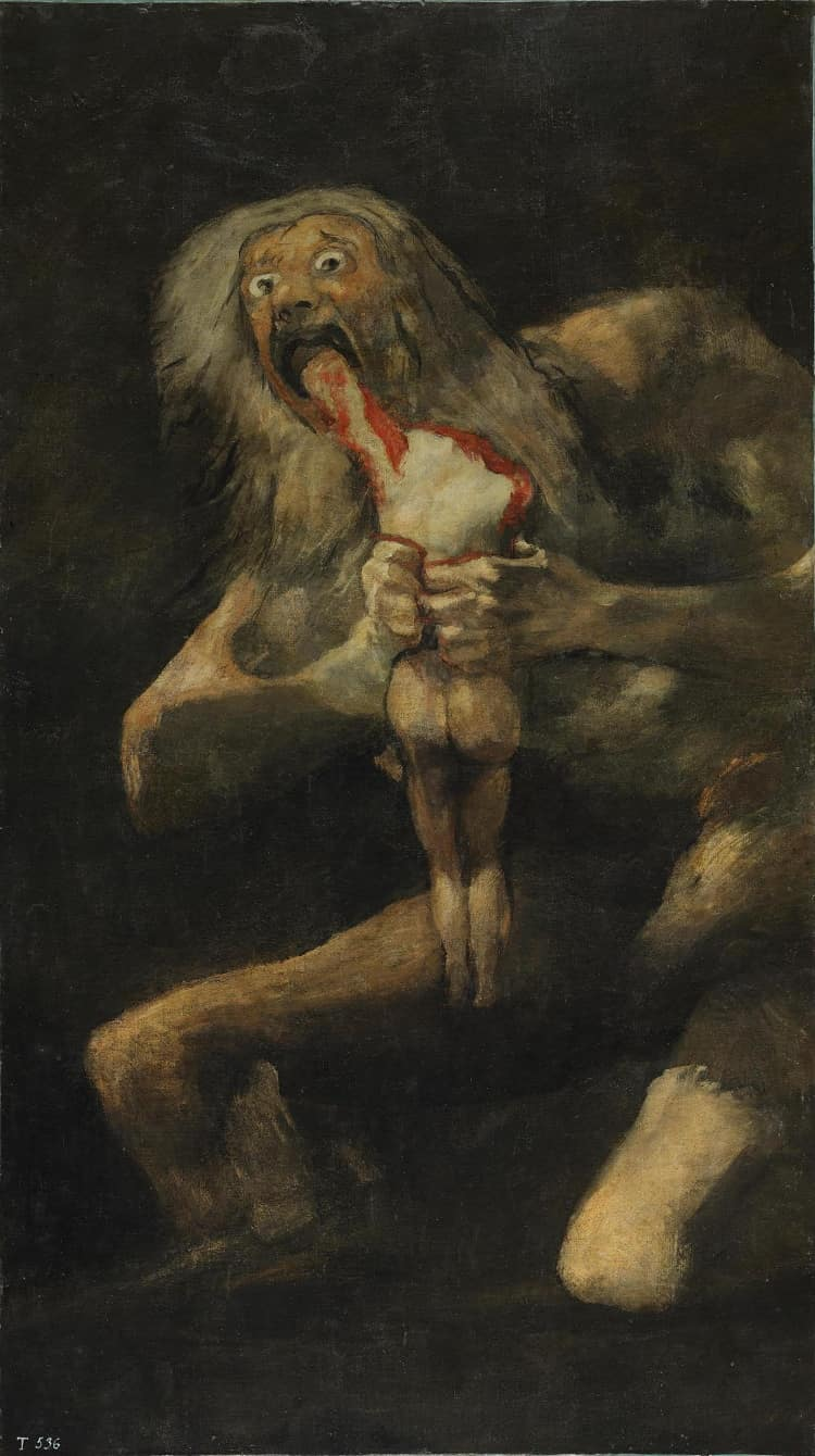 Saturn Devouring his Son by Francisco at Prado Museum in Spain