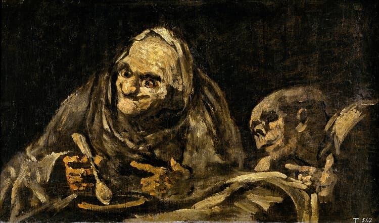 Two Men Eating Soup By Goya at Museo del Prado