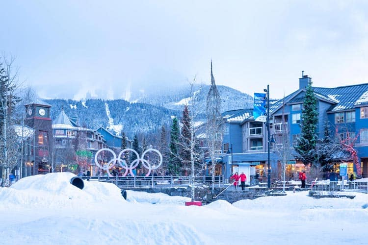 Whistler Plaza in the winter.