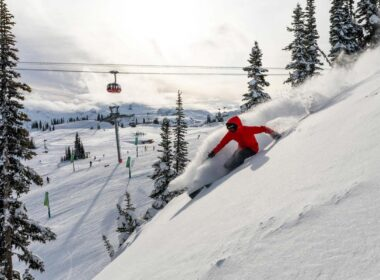 Skiing down the Whistler slopes in Canada.