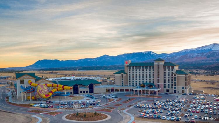 Great Wolf Lodge in front of the Colorado mountains