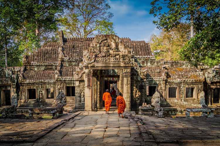 Monks at the Angkor Wat temple
