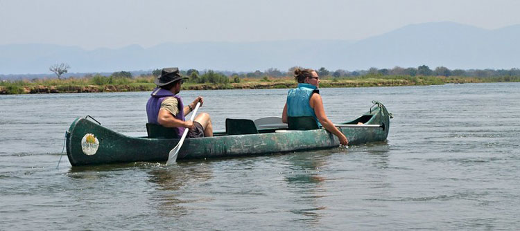 Canoe group on the Zambezi River