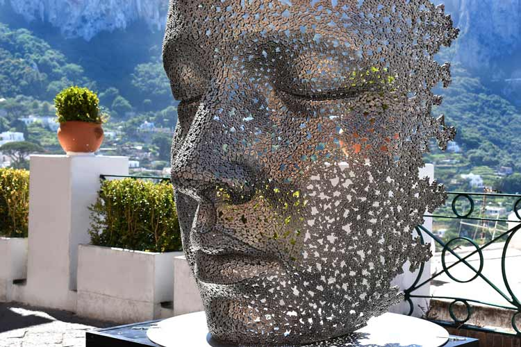 Famous art face installation in Capri, Italy