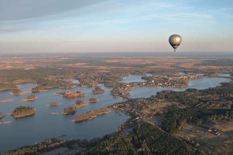 Hot air balloon ride over Lithuania countryside