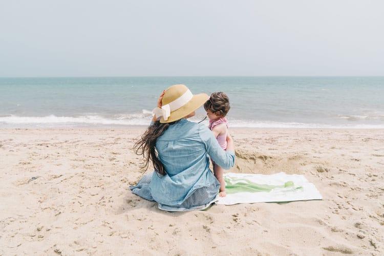 Family enjoying Nantucket Island beach day