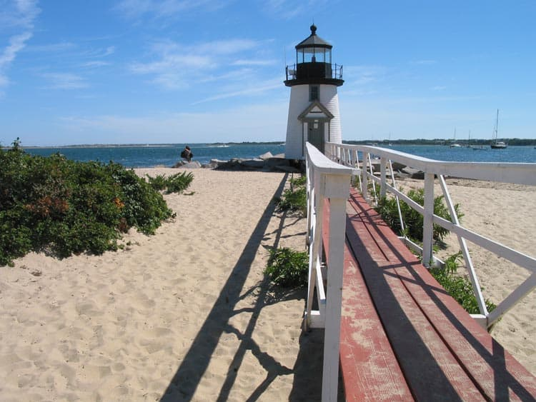 One of the lighthouses at the tip of Nantucket island coast.