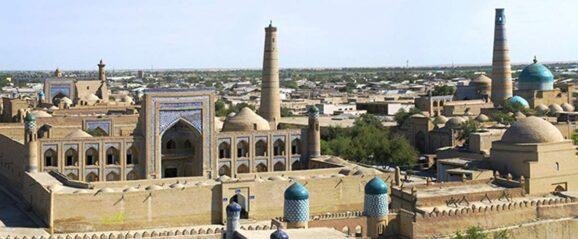 Beautiful buildings in Khiva, Uzbekistan