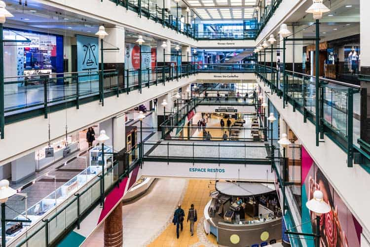 Montreal's underground city filled with shops and restaurants