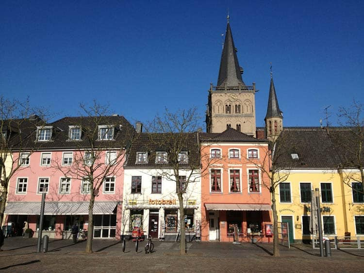 Colorful old buildings of Xanten, Germany