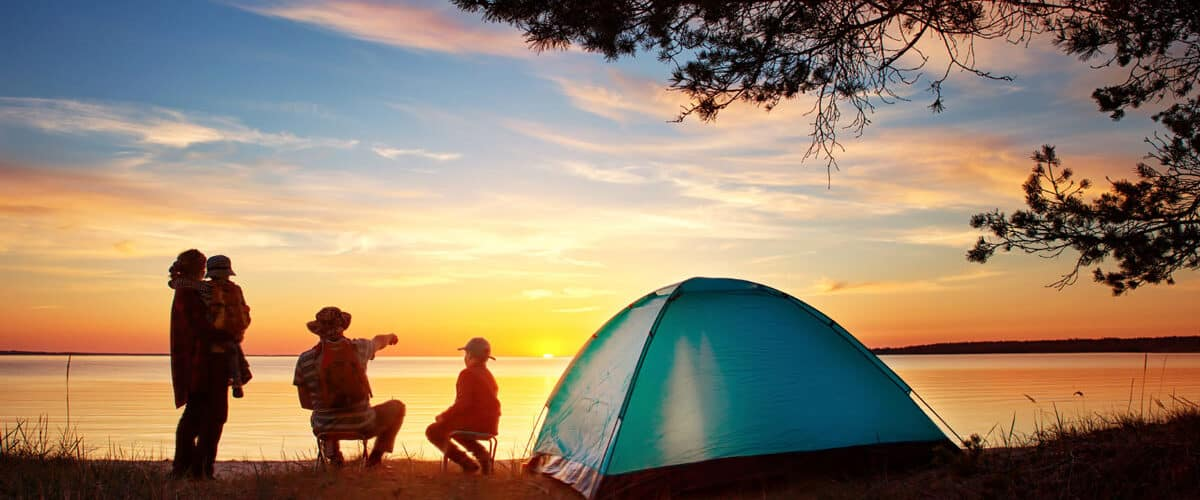 Family camping in Greece