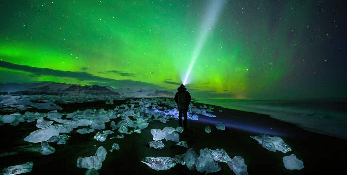Aurora Borealis at Diamond Beach in Iceland