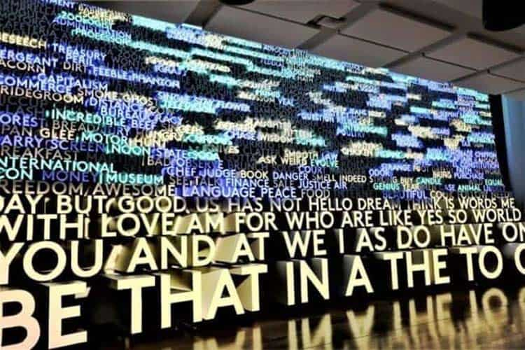 The Word Wall at Washington, D.C.'s Planet Word Museum mesmerizes and elucidates simultaneously.