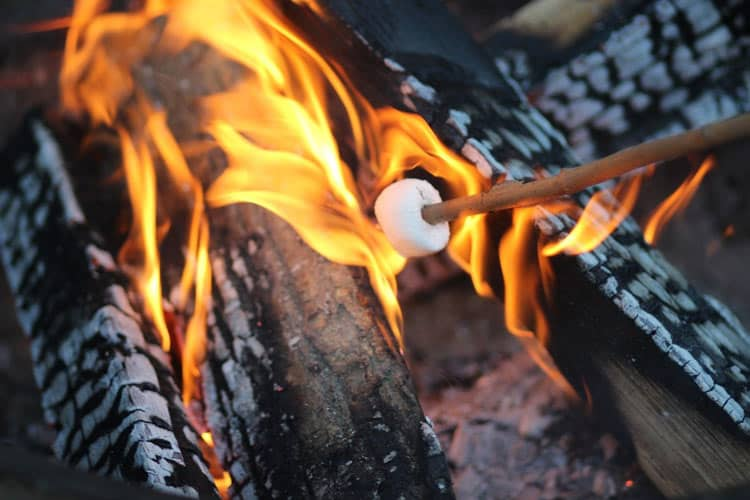 Guests are given marshmallows to roast over the fire at the Ritz-Carlton in Georgia.