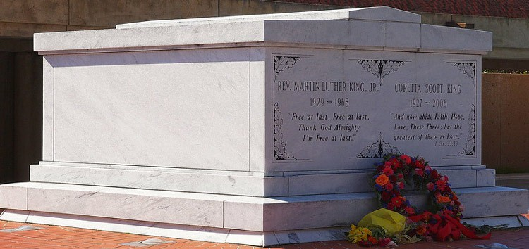 The tomb of Martin Luther King, Jr. and his wife Coretta Scott King at The King Center in Atlanta, Georgia. CC Image by Jim Bowen