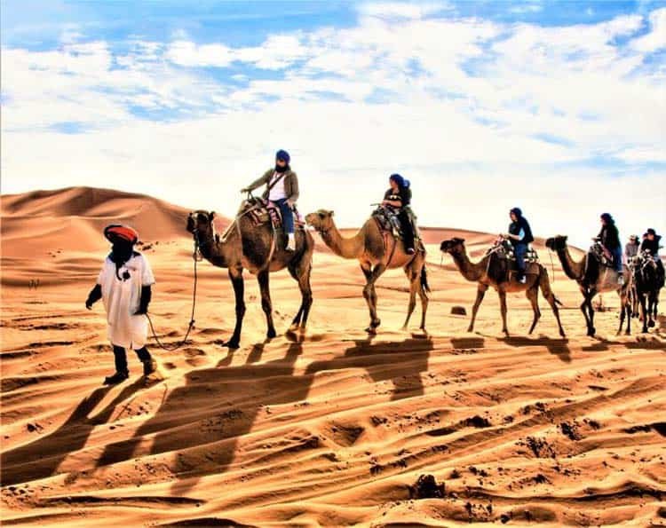 Members of an Overseas Adventure Travel Trip Riding Camels in Morocco. Photo courtesy of Grand Circle Corporation