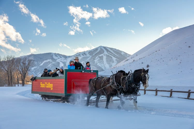 Sleigh ride to the historic Trail Creek Cabin. Photo Courtesy of Sun Valley Resort Photographer Steven Dondero