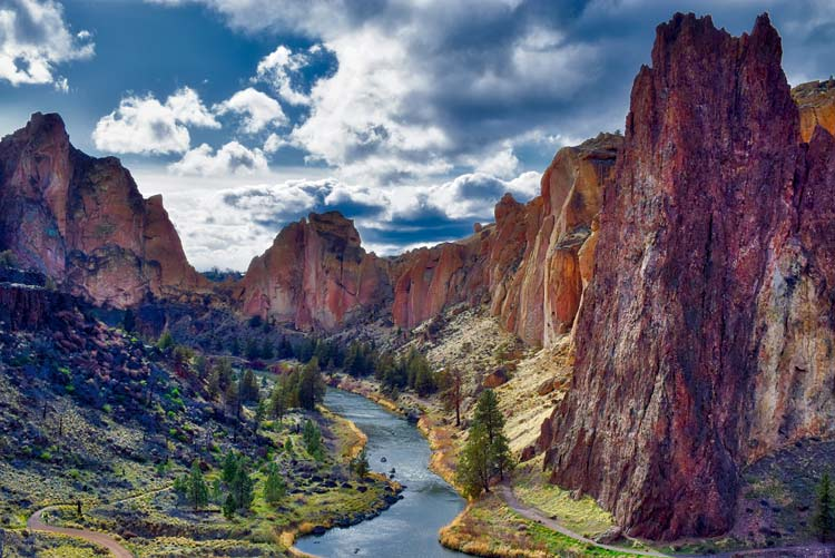Smith Rock State Park has a fantastic view of the Three Sisters and Mount Jefferson. Image by Kathy Weissberger