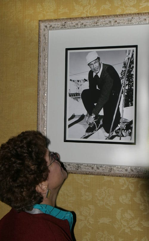 Black and white photos of past celebrity guests, like Gary Cooper, line the walls of the Sun Valley Lodge. Photo by Dino Vournas