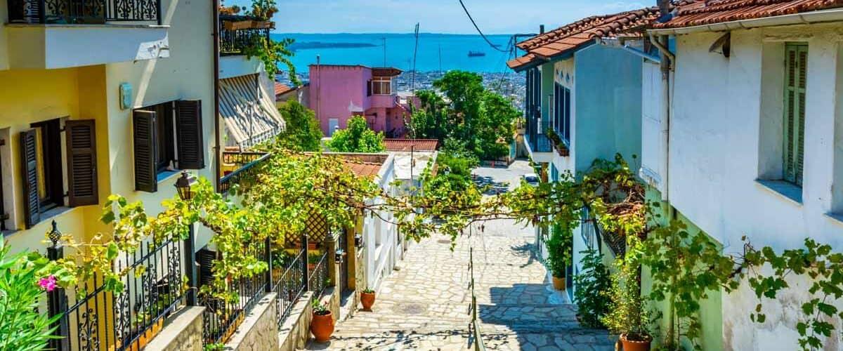 Street down to the ocean in Thessaloniki, Greece