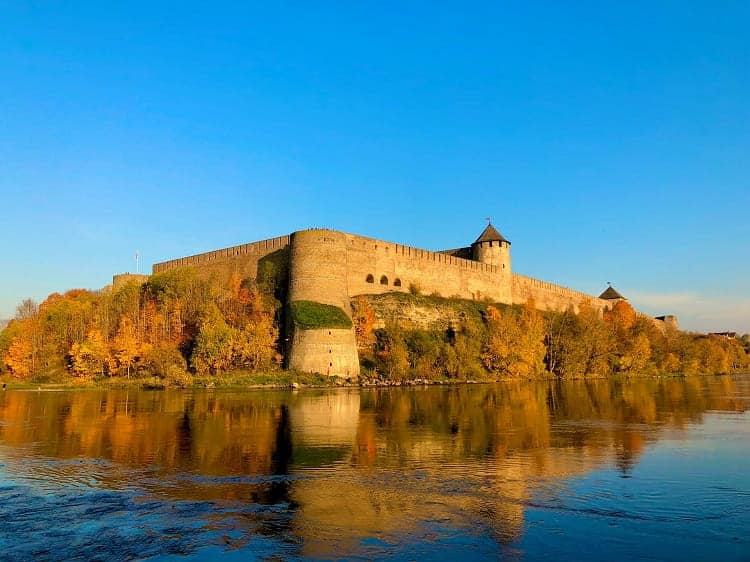 View of the Russian castle from Narva, Estonia
