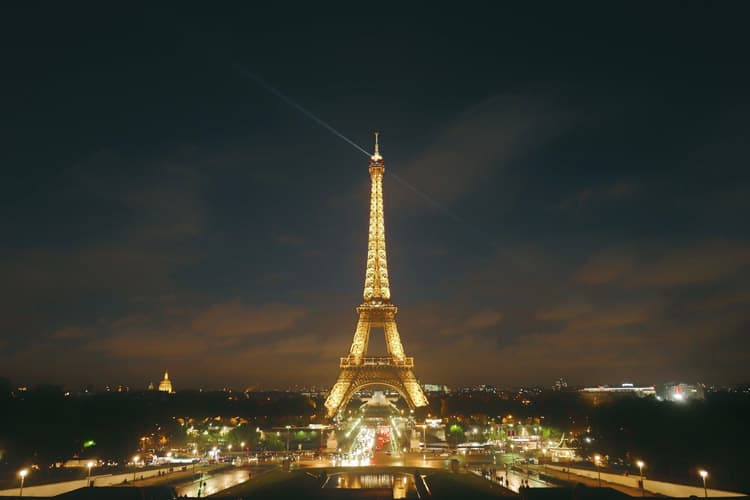 The Eiffel Tower totally illuminated at night in Paris