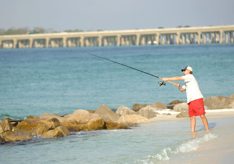 Fishing by the jetty in Destin, Florida