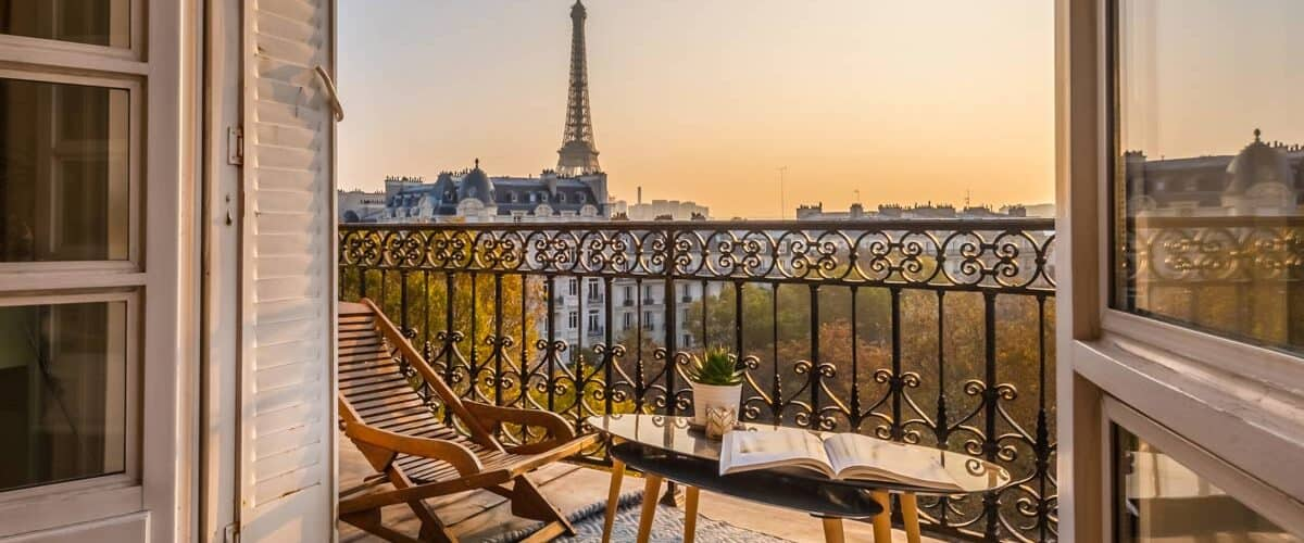 View out balcony of Eiffel Tower in Paris, France