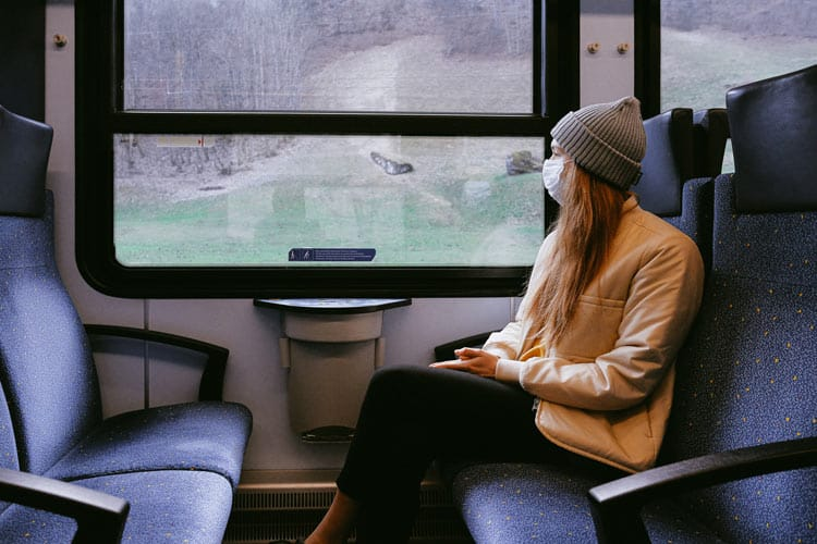 Train travel with masks