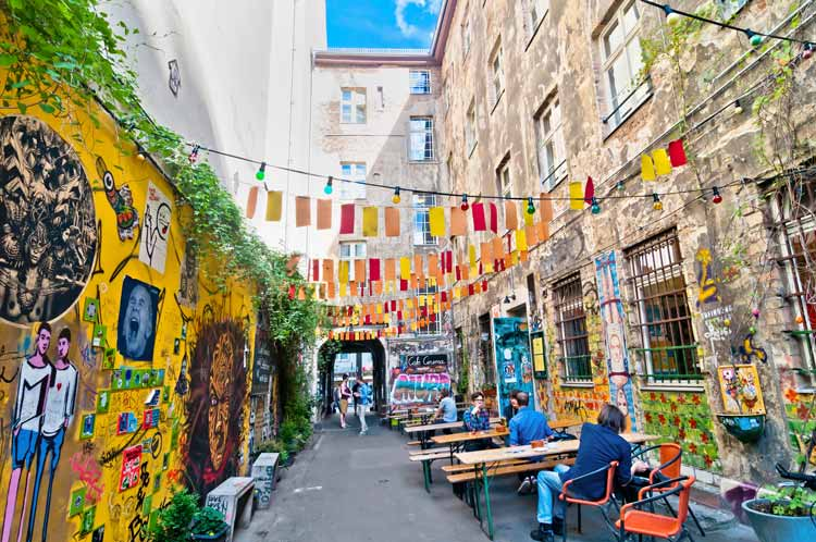 Colorful street of Mitte borough in Berlin