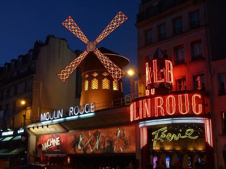 Out front of the Moulin Rouge