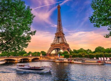 The River Seine in front of the Eiffel Tower in Paris, France