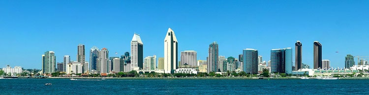 View of San Diego on the ocean