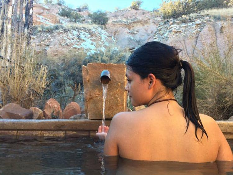 The private soaking pools at Ojo Caliente Mineral Springs are great for escaping the crowds after visiting Earthship