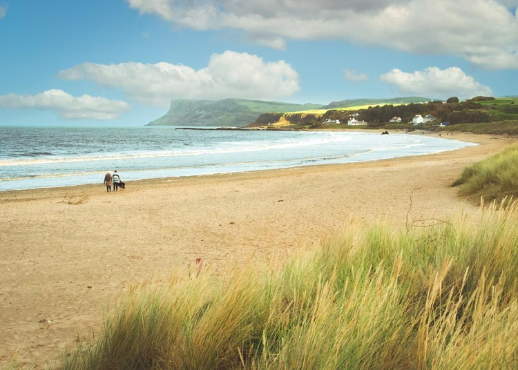 Ballycastle Beach in Northern Ireland welcomes the whole family including rover, off-leash. Photo by Anthony Boyle