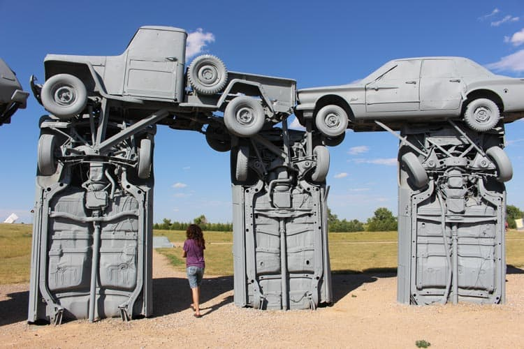 Nebraska's Carhenge is a replica of England's Stonehenge. This attraction features vintage automobiles and free admission. Photo by Janna Graber