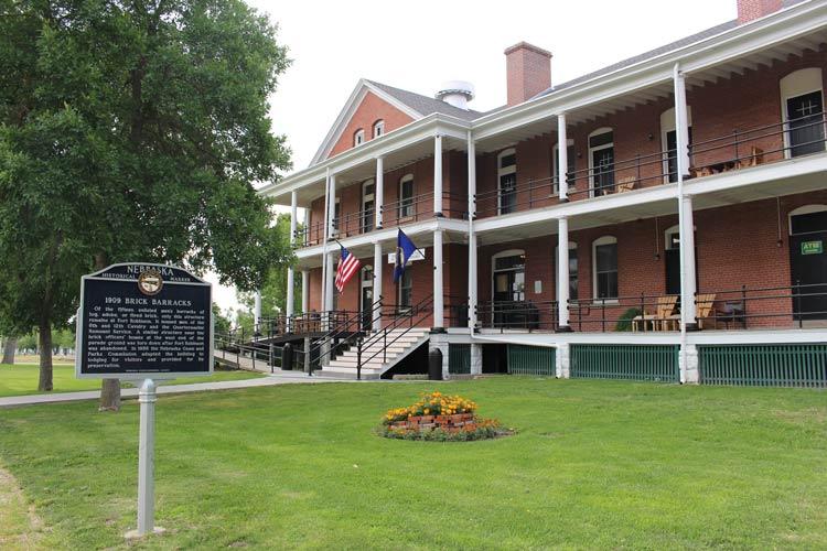 Nebraska's Historical Marker: 1909 Brick Barracks at Fort Robinson. Photo by Janna Graber
