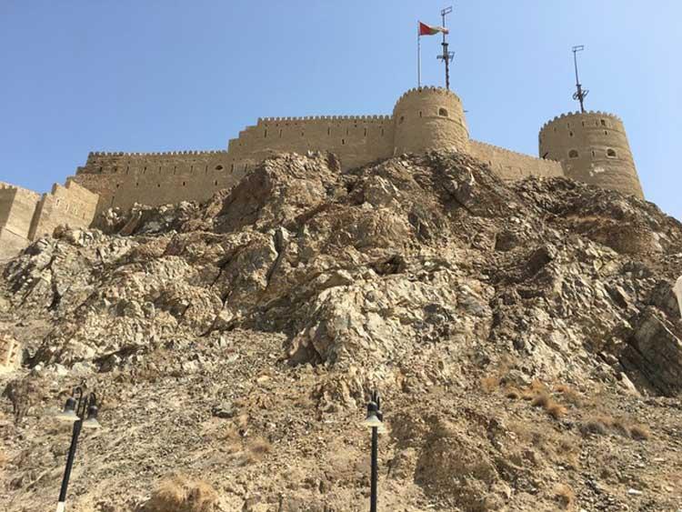 Oman's castle from below. Photo by Sue Sanders