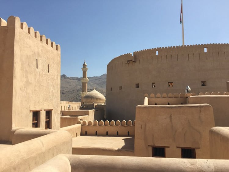 The distinctive Arabian architecture is apparent in the forts and castles in Oman. Photo by Sue Sanders