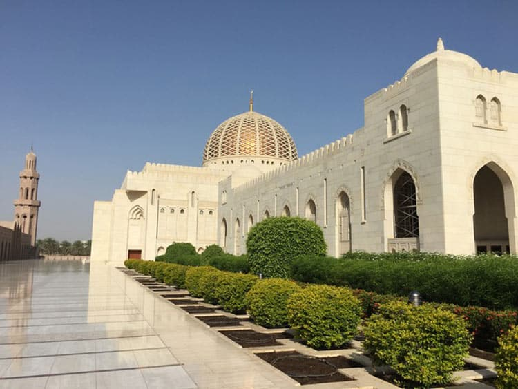 Sultan Qaboos Grand Mosque, Muscat in Oman, the mosque complex can accommodate up to 20,000 worshipers. Photo by Sue Sanders