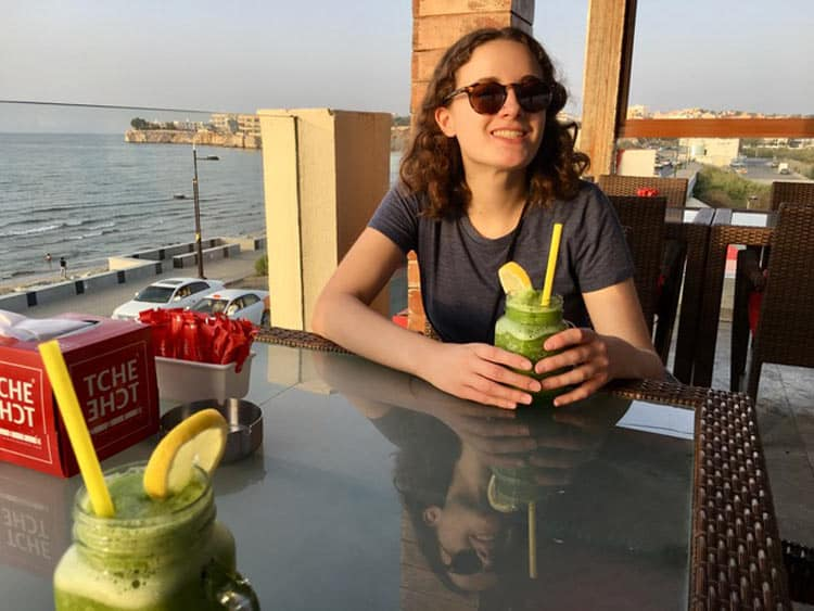 In Muscat, travelers can find the Tche Tche Cafe on Al Qurum Beach and have a refreshing mint lemonade. Photo by Sue Sanders
