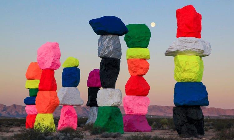 Seven Magic Mountains art installation.