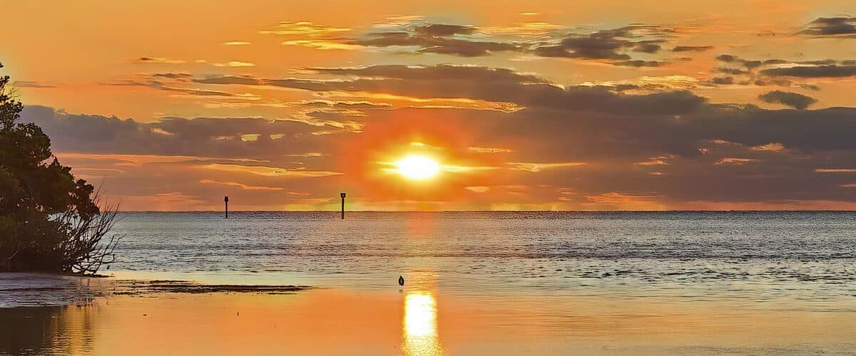 The sun rises over Anne's Beach in the Florida Keys