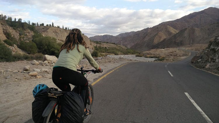 Cycling at 4500 mts in Morey Plains in Indian Himalays.
