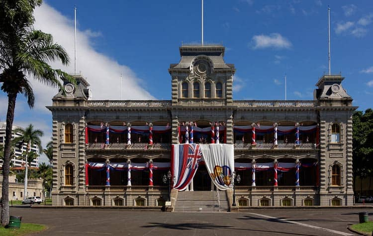 Iolani Palace decked out for a historic celebration