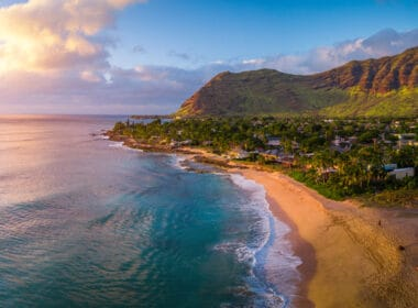 Sun rising over Oahu, Hawaii