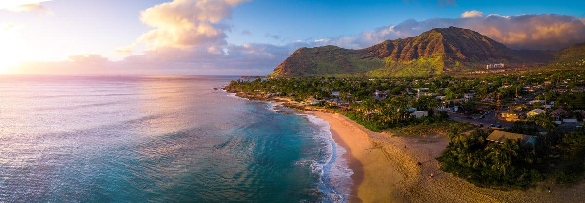 Sun rising over Oahu, Hawaii