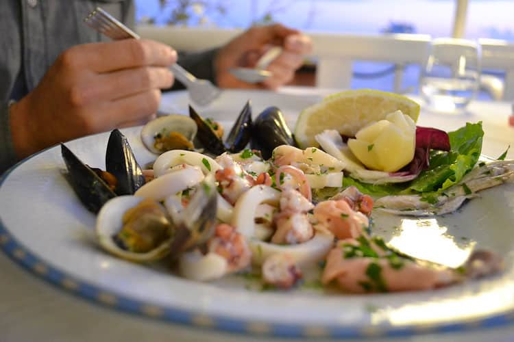 Fresh seafood medley at an Amalfi restaurant